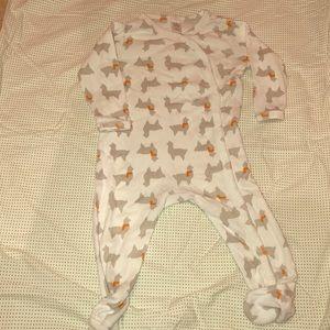 Alpaca print footed onesie